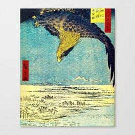 Hiroshige, Hawk Flight Over Field Canvas Print