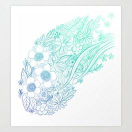 Ocean Flowers Party - Mint & Blue Art Print
