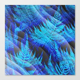 Icy Blue Ferns Nature Fantasy Canvas Print