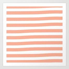 Brushy Stripes - Orange Art Print