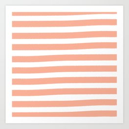 Brushy Stripes - Orange Art Print