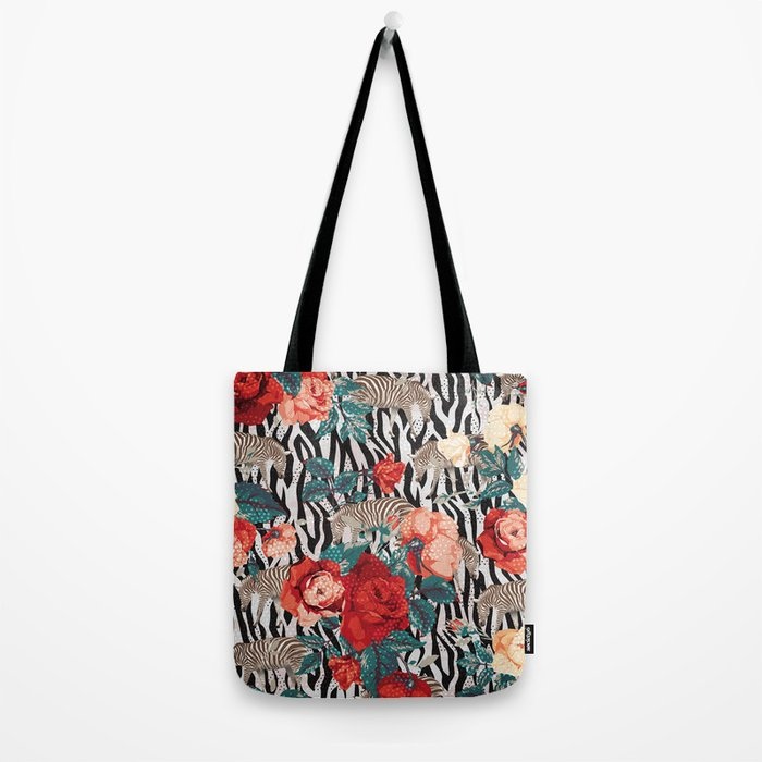 Pattern flowers-animals Tote Bag