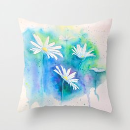 Spring watercolor daisies painting Throw Pillow
