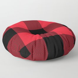 Big Red and Black Buffalo Plaid Floor Pillow