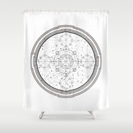 Science fiction style sacred geometry circle with celestial map Shower Curtain