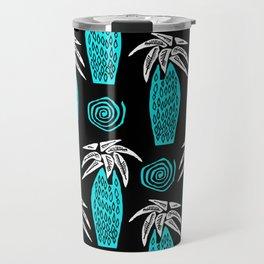 Palm Tree on Black Travel Mug