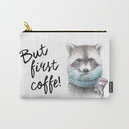 raccoon pencil and watercolor illustration Carry-All Pouch
