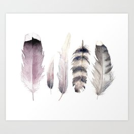 Purple feathers Art Print