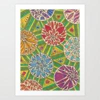 green pattern Art Prints featuring Green pattern by Lisidza's art