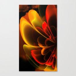Stylized Half Flower Red Canvas Print