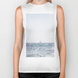 Sail Boat on the Ocean Seascape Beach Colored Wall Art Print Biker Tank