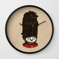 bears Wall Clocks featuring Bears by Ronan Lynam