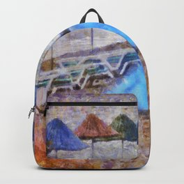 Beach Umbrellas In Impressionist Style Backpack
