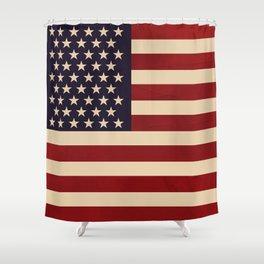 Western Shower Curtain Antique American Flag Print for Bathroom