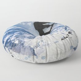 Snowboarder In Flight Floor Pillow