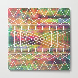 Aztec Andes Tribal, Geometric Shapes Pattern, Itaya Metal Print