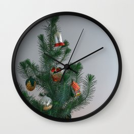 Little ChristmasTree With Antique Ornaments Wall Clock