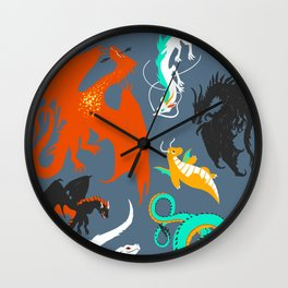 A Flight with Dragons Wall Clock