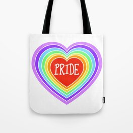 Pride Heart Rainbow Tote Bag