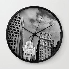 Sao Paulo Skyline - Anhangabau in black and white Wall Clock