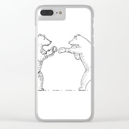 Two Grizzly Bear Boxers Boxing Drawing Clear iPhone Case