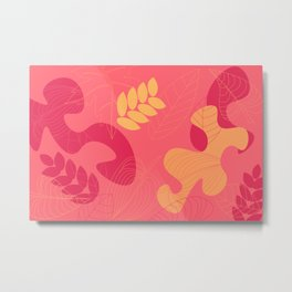 Pink abstract outline foliage pattern Metal Print