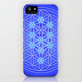 Flower Of Life - Blue iPhone Case