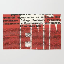 Russia, URSS Vintage Poster, Lenin, Newspaper Rug