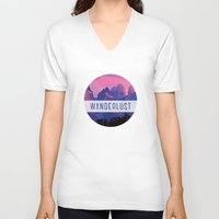 wanderlust V-neck T-shirts featuring Wanderlust by snaticky