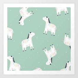 Rainbow Zebras Art Print
