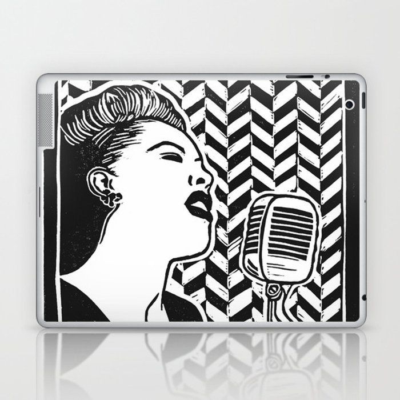 Lady Day (Billie Holiday block print blk) Laptop & iPad Skin