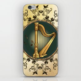 Golden harp iPhone Skin