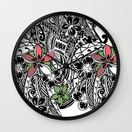 Polynesian Flora Touch Of Color Wall Clock