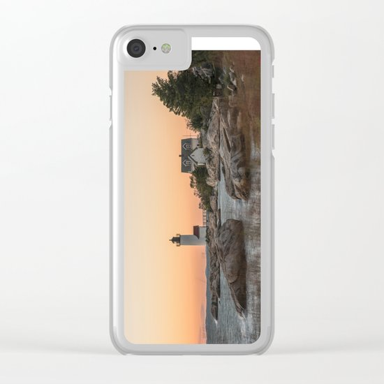 Autumn Lighthouse at sunset Clear iPhone Case