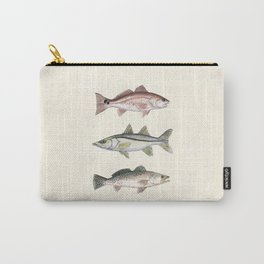 """""""Inshore Slam!"""" by Amber Marine ~ Redfish, Snook, & Trout Watercolor Illustration, (Copyright 2013) Carry-All Pouch"""