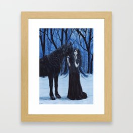 Midnight Travelers Gothic Fairy and Unicorn Framed Art Print