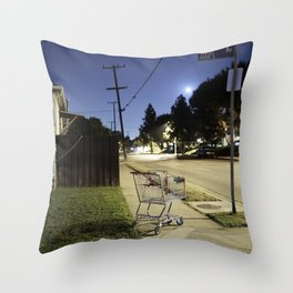 Displaced shopping carriage. Throw Pillow