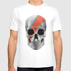 Skull Bowie MEDIUM White Mens Fitted Tee