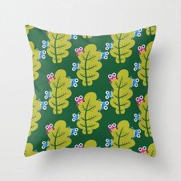 Bugs Eat Green Leaf Throw Pillow