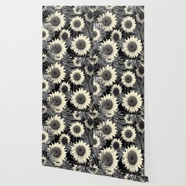 Tropical Sunflower Jungle Night Leaves Pattern #2 #tropical #decor #art #society6 Wallpaper