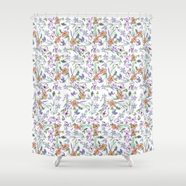 Simple Flowers on White Background Shower Curtain