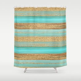 Turquoise Brown Faux Gold Glitter Stripes Pattern Shower Curtain