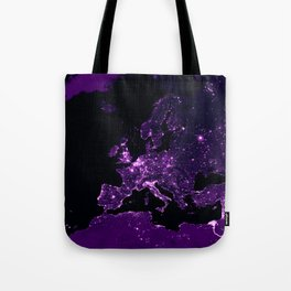 Earth Night Lit Up : Purple Tote Bag