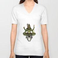 shiva V-neck T-shirts featuring Shiva by Slavena Peneva