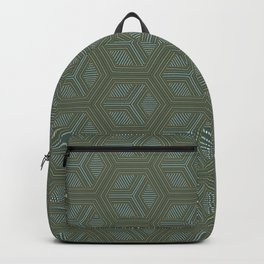 Geometric Diamonds in Green and Gold Backpack