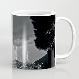 Lighting Storm on the coast, Adriatic Ocean black and white photograph Coffee Mug