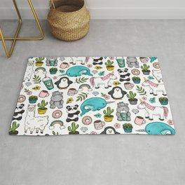 Girly Icon Art, Narwhals, Pandas, Llamas, Unicorns, Penguins and Baby Hippos, Emoji Tween Girl Art Rug