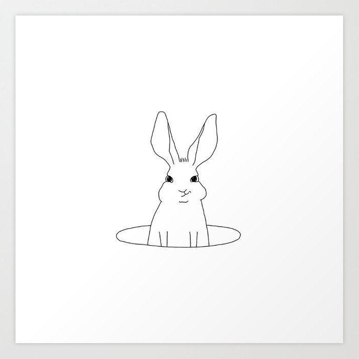 rabbit in a hole Art Print