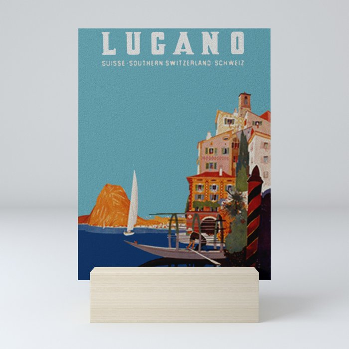 Vintage Lugano Switzerland Travel Mini Art Print
