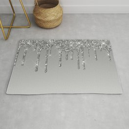 Gray & Silver Glitter Drips Rug
